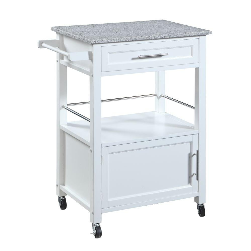 Linon Home Decor Inc. Mitchell Wood Kitchen Cart with White Granite Top in  White