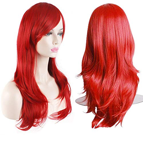(AKStore Women's Heat Resistant 28-Inch 70cm Long Curly Hair Wig with Wig Cap, Red)