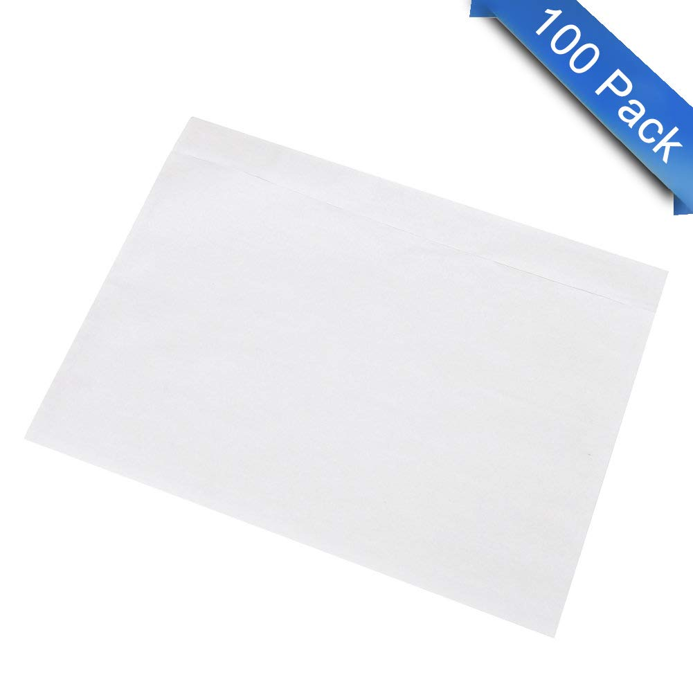 7.5'' x 5.5'' Clear Adhesive Top Loading Packing List / Shipping Label Envelopes (100 Pack)