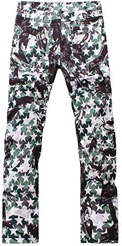 Męskie gedruckte Jeans Slim Straight Coloured Denim Pants: Odzież