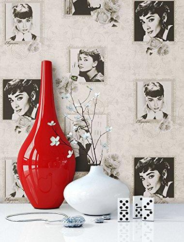 Tapete Beige Audrey Hepburn   schöne edle Tapete im Retro-Design   moderne 3D Optik für Wohnzimmer, Schlafzimmer oder Küche inklusive der Newroom-Tapezier-Profibroschüre mit Tipps für perfekte Wände