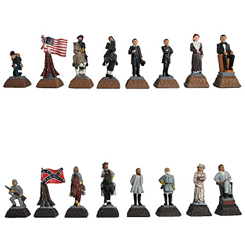 American Civil War Hand Painted Polystone Chess Pieces ()