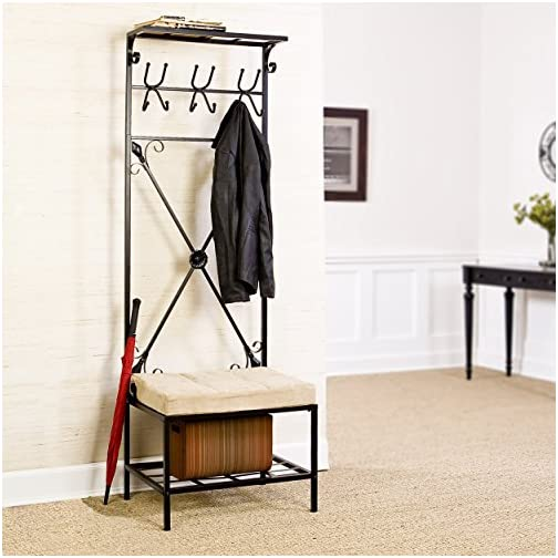 SEI Furniture Bench and Storage Rack, Black Textured Powder-Coat