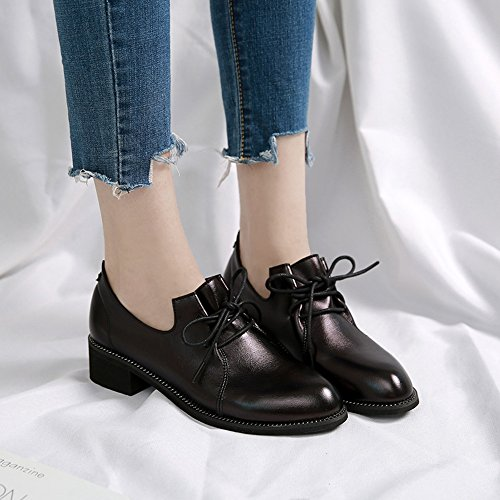 HAIZHEN Ladies Girls Booties Women's Flats Light Soles PU Fall Casual Office & Career Dress Flat Heel Black 3.5cm For 18-40 Years Old DYRptQQm