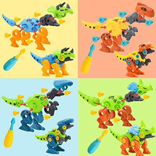 3 otters Take Apart Dinosaur Toy, STEM Toys for Kids Dinosaur Building Blocks 4PCS STEM Dinosaur Toys Educational Gifts for Boys Birls