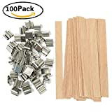 HYOUNINGF 100 Piece 5 inch Wood Candle Wicks for Candle Making and Candle DIY (100 Pack)