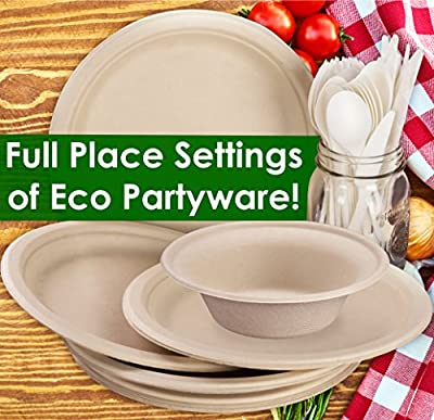 Biodegradable, Tree Free Tableware Picnic Pack. Full Place Settings (Knife, Fork, Spoon, Plate, Bowl) are Disposable, Certified Compostable, Eco-Friendly, Microwavable and Safe for Hot or Cold Foods
