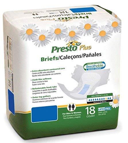 Presto Plus Breathable Briefs, Large, 72 Per Case (Presto Briefs)