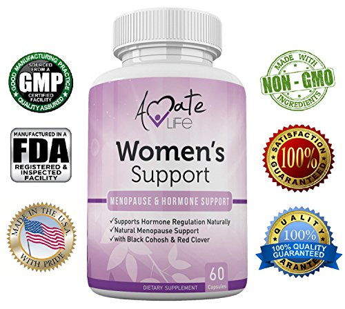 Amate Life Women's Support Supplement- Natural Hormone Regulation- Menopause Support Supplement- Estrogen Rich Supplement- Active Ingredients Hormone Regulation - Pills to Balance Hormones (Estrogen Replacement Therapy)