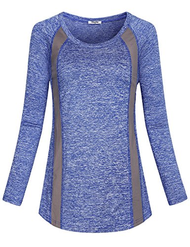 Hibelle Casual Tops For Women Fall, Ladies Curved Hemline Crewneck Lightweight Comfortable Clothing Retro Style Jersey Yoga Running Gym Sports Daily Wear Athletic Blouse Blue XL - Retro 14 Light