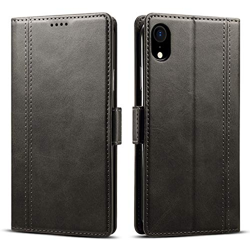 Case Compatible 2018 iPhone XS MAX, 6.5 inches, Leather Wallet Slim Case Folio Flip Cover Black ()