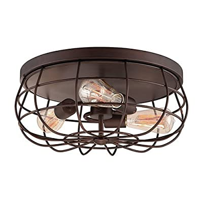 Millennium Lighting 5323 Neo-Industrial 3 Light Flush Mount Ceiling Fixture, Rubbed Bronze by Millennium Lighting