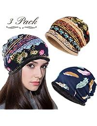 LOLIAS 3 Pcs Slouchy Beanie for Women Girls Soft Lightweight Chemo Cap Headwear Sleep Hats Infinity Scarf,Thick