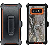 Samsung Galaxy Note 8 Cover | Holster Case | Full Body Military Grade Edge-to-Edge Protection with carrying belt clip | Drop Proof Shockproof Dustproof | Orange / Camouflage