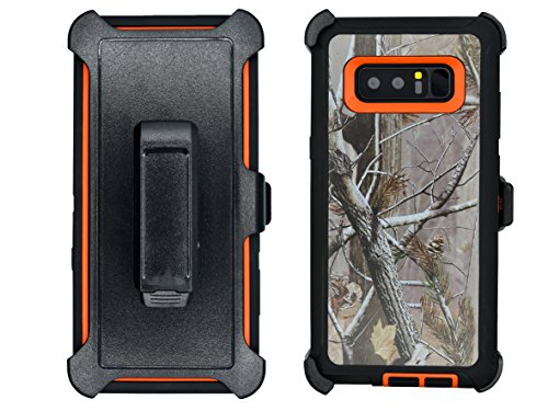 Samsung Galaxy Note 8 Cover | Holster Case | Full Body Military Grade Edge-to-Edge Protection with carrying belt clip | Drop Proof Shockproof Dustproof | Orange / (Speck Black Leather)