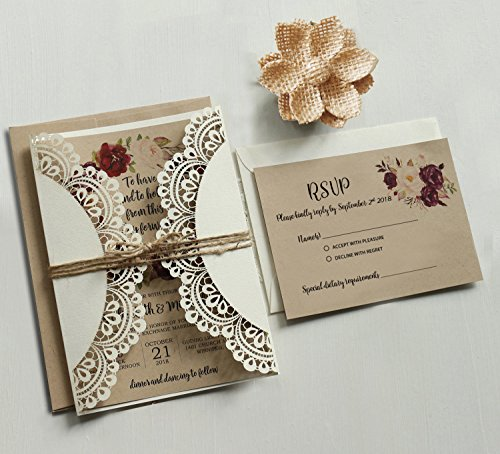 Off White Lace Wedding Invitations Set RSVP Cards Included Rustic Kraft Paper Invitation Cards - Set of 50 pcs (Customized Invitations + -