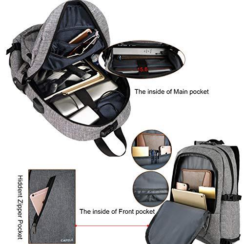 YIDUGO Backpack,Travel College School Bookbag,Slim Backpack w/USB Charging Fits up Laptop Notebook,Grey