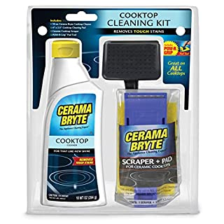 Cerama Bryte Cooktop Cleaning Kit, 10 oz Cooktop Cleaner, 1 Cleaning Pads & POW-R Grip Pad Tool, and Scraper, Heavy-duty Cleaning, Non Scratch, For Smooth-Top Cooking Surfaces and More, Biodegradable