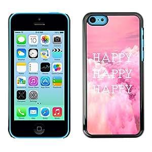Qstar Arte & diseño plástico duro Fundas Cover Cubre Hard Case Cover para Apple iPhone 5C ( Happy Life Quote Happiness Lifestyle Positive)