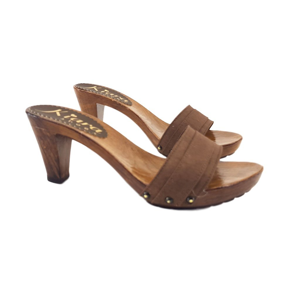 K5101-MARRONE Womens Comfortable Clogs Brown Heel 8 Plateau 2 cm with DHL