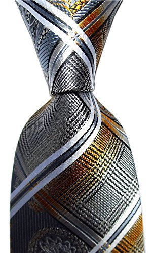 Xiessi Men's Tie Necktie Wedding Paisley JACQUARD WOVEN Party Classic Microfiber (One Size, - Brown Grey With