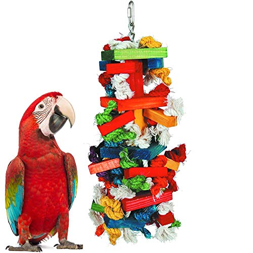 """Mrli Pet Large Bird Knots Block Chewing Toys, Colorful N Entertaining, Keeps Bird Happy, Large, 16"""" X 6"""" X 6"""" Inches"""