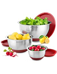 Favor Blümwares 3-Piece Stainless Steel Mixing Bowls with Lids & Non-Skid Rubber Grip Bottoms | Set of 3 cheapest