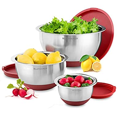 Blümwares 3-Piece Stainless Steel Mixing Bowls with Lids & Non-Skid Rubber Grip Bottoms | Set of 3