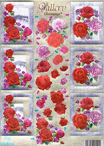 Dufex Pink & Red Rose Flowers 3D Die Cut Decoupage