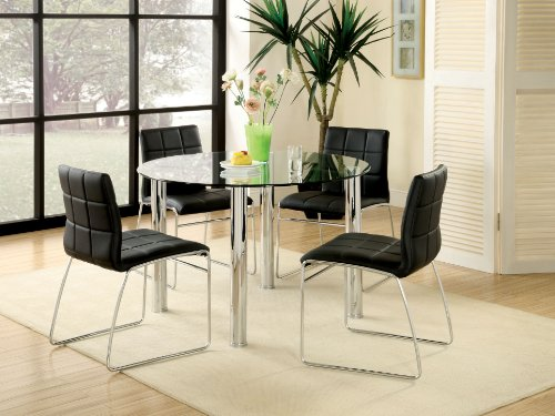 Furniture of America Clarks 5-Piece Dining Set with Black (Upholstered Sleigh Back Chairs)