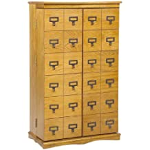 Leslie Dame CD-612L Solid Oak Mission Style Multimedia Storage Cabinet with Library Card Catalog Style Doors, Oak