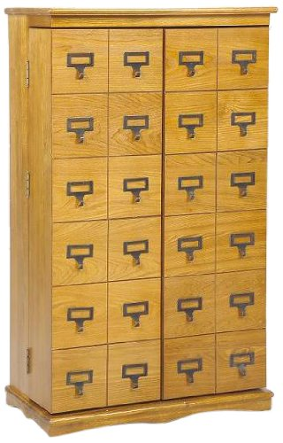 LDE LESLIE DAME Leslie Dame CD-612L Solid Oak Mission Style Multimedia Storage Cabinet with Library Card Catalog Style Doors, Oak
