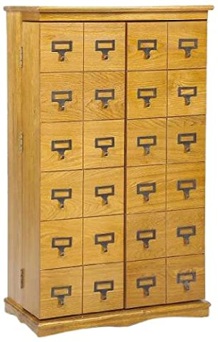 Leslie Dame CD-612L Solid Oak Mission Style Multimedia Storage Cabinet with Library Card Catalog Style Doors, (Cd Cabinet Mission)
