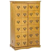 LDE LESLIE DAME Leslie Dame CD-612L Solid Oak Mission Style Multimedia Storage Cabinet with Library Card Catalog Style Doors, Oak