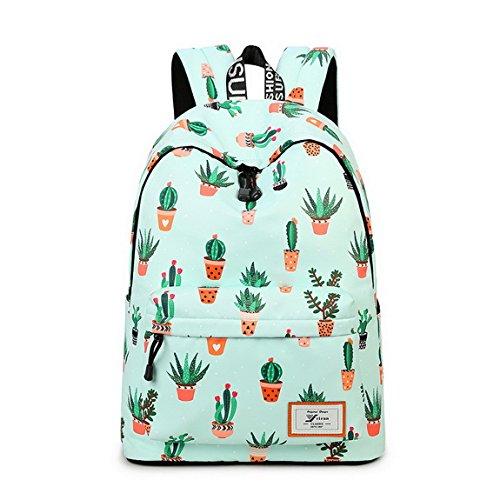 Teecho Waterproof Cute Backpack for Girl Casual Print School Bag Women Laptop Backpack Cactus