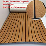 yuanjiasheng Second Generation Upgrade EVA Faux Teak Decking Sheet For Boat Yacht Non-Slip 94.5'× 35.4' Bevel Edges (light brown with black lines)