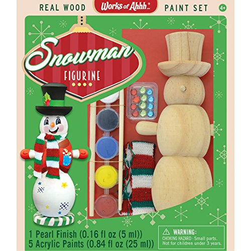 MasterPieces Works of Ahhh Christmas Real Wood Large Acrylic Paint Kits, Winter Snowman Figurine, For Ages 4+
