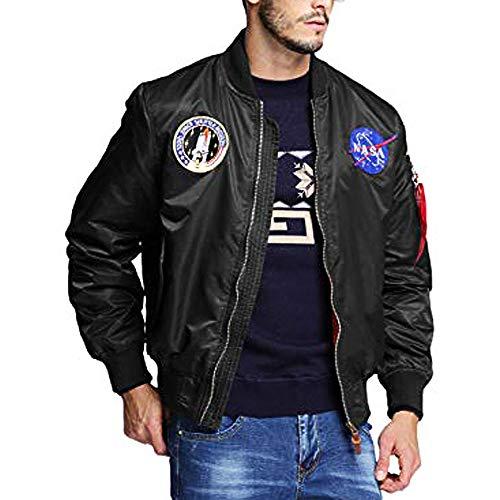 BOMBAX Mens MA-1 Slim Fit Flight Bomber Jacket NASA Patch Military Outwear Coat