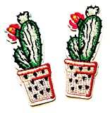 Nipitshop Patches Set Green Cactus Pink Flower on