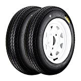 #1: QD-712 Trailer Tires 4.80-12 6 Ply Load C On White Rims 5 Lug/4.5