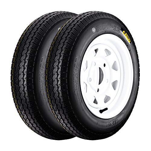 QD-712 Trailer Tires 4.80-12 6 Ply Load C On White Rims 5 Lug/4.5″ Pack of 2