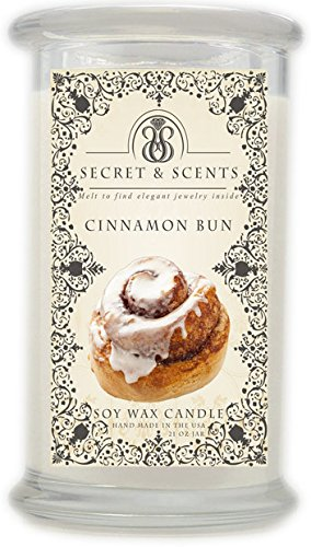 Highly Scented Soy Candle (Elegant Jewelry in Soy Candle - Secret and Scents Highly Scented Soy Candles - Pick Your Scent and Jewelry Type (Cinnamon Bun, Ring Size 6))