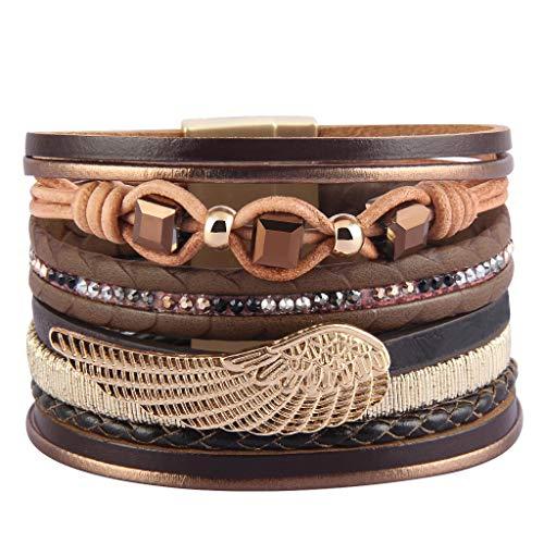 (Jenia Angel Wings Leather Cuff Bracelet Boho Wrap Bracelet Multi Rope Braided Bracelet Gorgeous Crystal Bohemian Jewelry for Women, Mom, Daughter, Girls, Teenager Christmas Birthday Gift)