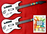 2 Nintendo Wii U or Wii Wireless Guitar Controllers and Band Hero Video Game Kit bundle set play music