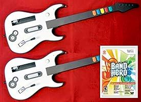 Nintendo Wii/Wii-U BAND HERO Video Game + 2 Wireless GUITAR Controller Set Bundle Kit