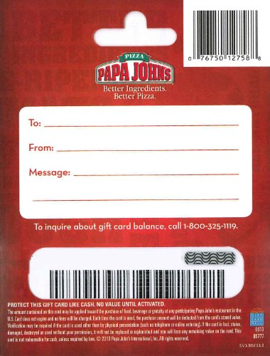 papa john gift card papa john s pizza 25 gift card arts entertainment party 4746