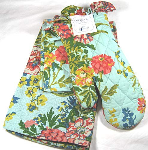 April Cornell Floral Print 3 Pc. Kitchen Set Tea Towel, Oven Mitt and Pot Holder