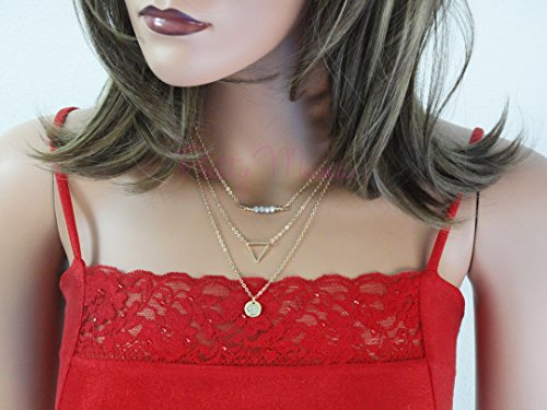 Strand Gold Three 14k (18K Gold Filled Necklace, Set of 3 Strands Necklaces, Gold Layered Necklaces Set, Personalized Disk, Triangle Pendant By Pretty Mana)