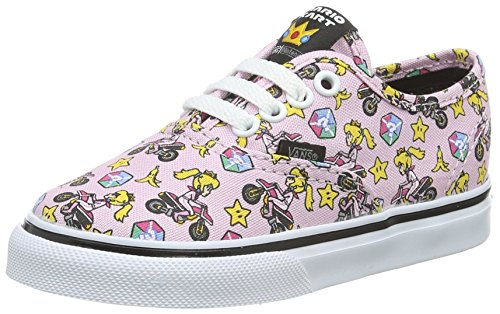 Vans Kids Girls' Authentic (Toddler), (Nintendo) Princess Peach/Motorcycle, 4 -
