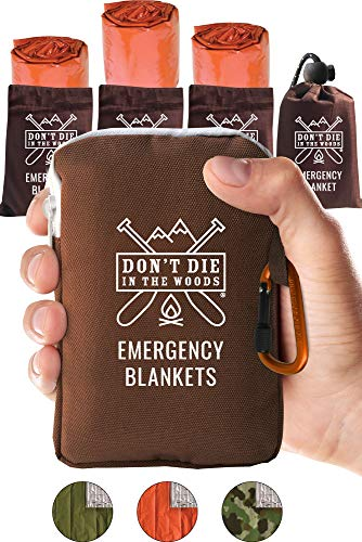 Dont Die In The Woods Worlds Toughest Emergency Blankets | 4 Pack Extra Large Thermal Mylar Foil Space Blanket for Hiking, Marathon Running, First Aid Kits, Outdoor Survival Gear | Orange